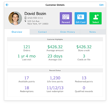 CRM customer profile on POS
