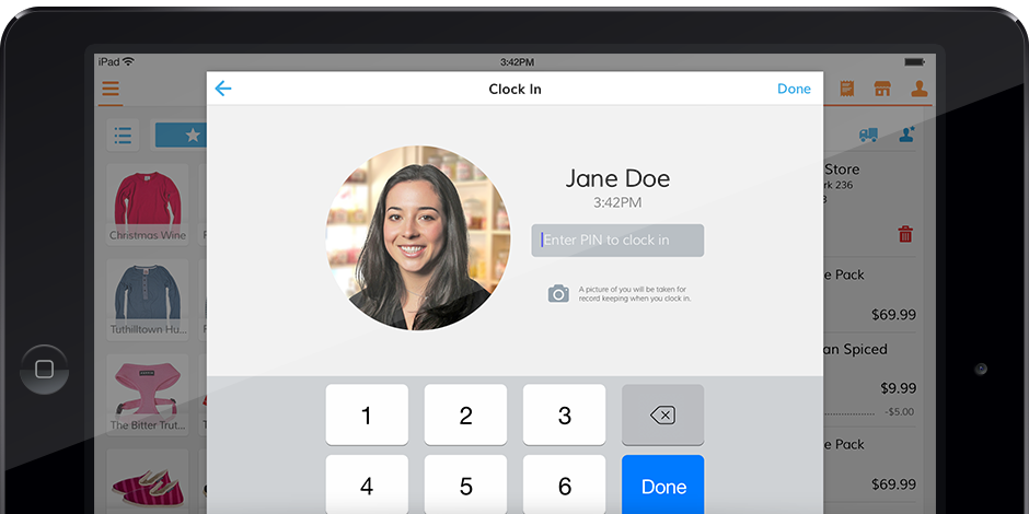 Clock in / clock out feature on POS