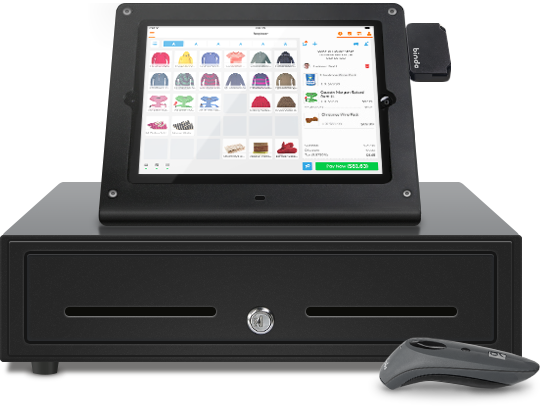 iPad POS with cash register and Socket Mobile barcode scanner and Heckler Windfall iPad stand and credit card reader